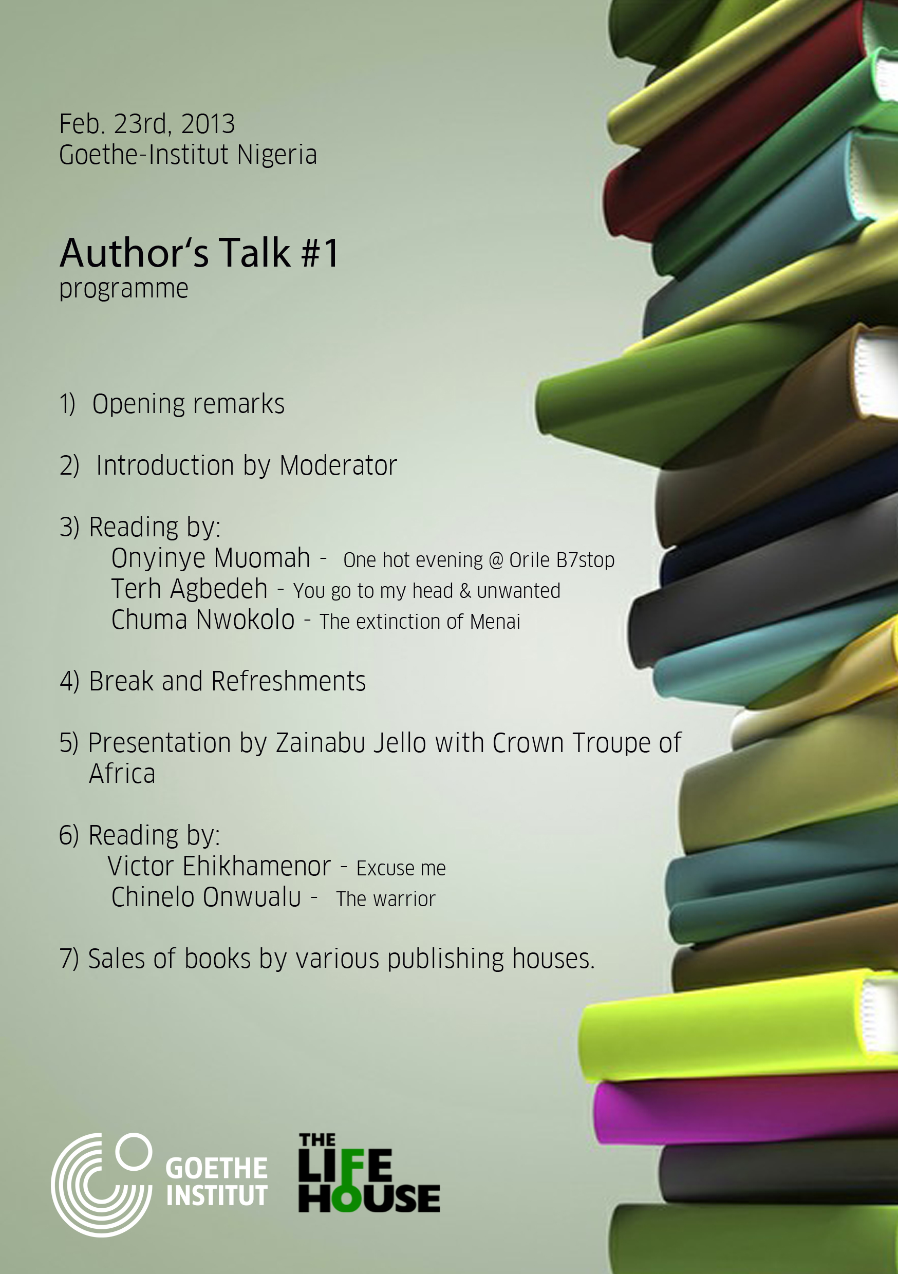 Goethe-Institut Nigeria, Author's Talk #1
